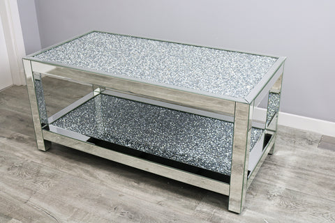 Two Tier Mocka Diamond Crush Table
