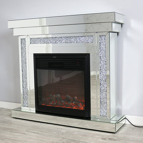 Mocka Diamond Crush Fireplace and Illusion Fire