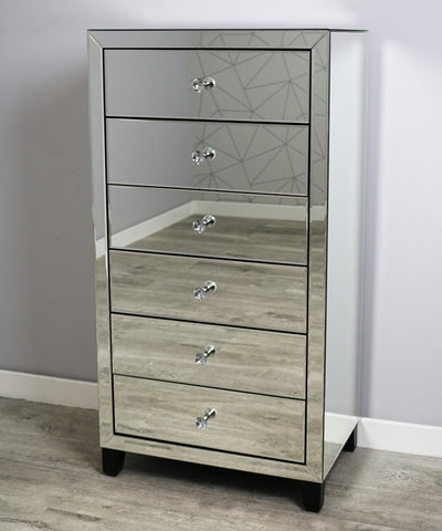 Simply Mirror 6 Drawer Tall Boy