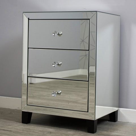 Simply Mirror 3 Drawer Bedside Cabinet