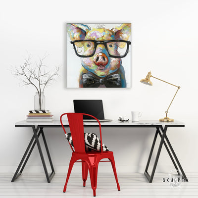 "Skulpta Canvas Print 30x30cm / 12x12"" / Rolled Canvas ・""Pig Look""・"