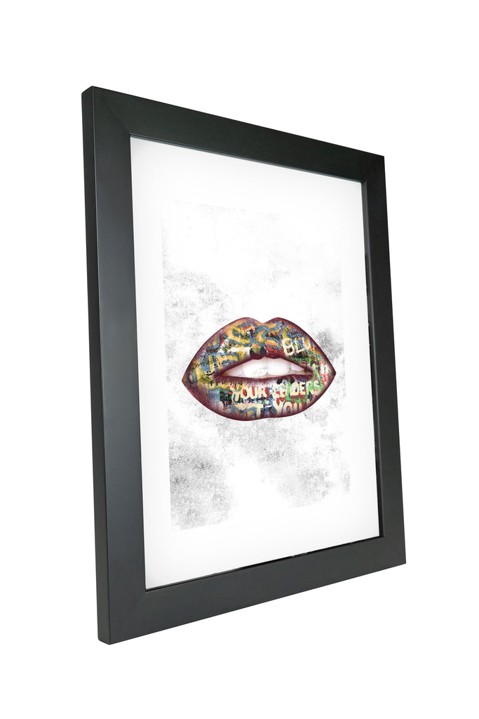 "Skulpta Canvas Print 30x45cm / 12x18"" / Fine Art Frame ・""Grey Graffiti Lips""・"
