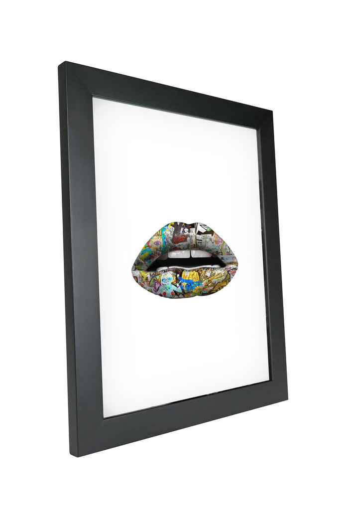 "Skulpta Canvas Print 30x45cm / 12x18"" / Fine Art Frame ・""White Graffiti Lips""・"