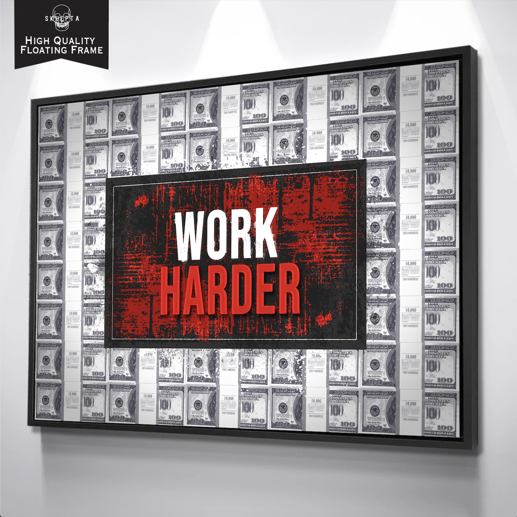 "Skulpta Canvas Print 30x45cm / 12x18"" / Floating Framed Canvas / White ・""Work Harder""・"