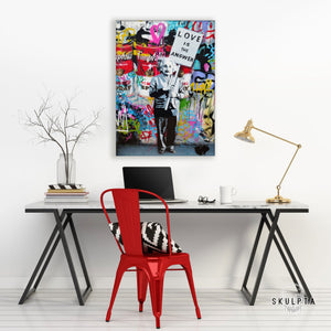 "Skulpta Canvas Print 30x45cm / 12x18"" / Rolled Canvas Banksy・""Love Is The Answer""・"