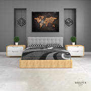 "Skulpta Canvas Print 30x45cm / 12x18"" / Rolled Canvas ・""Black World Map""・"