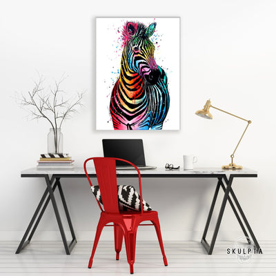 "Skulpta Canvas Print 30x45cm / 12x18"" / Rolled Canvas ・""Colourful Zebra""・"