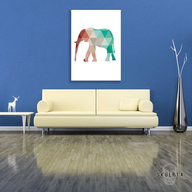 "Skulpta Canvas Print 30x45cm / 12x18"" / Rolled Canvas ・""Geometric Elephant""・"