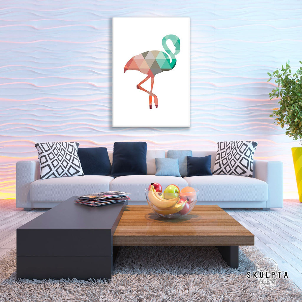 "Skulpta Canvas Print 30x45cm / 12x18"" / Rolled Canvas ・""Geometric Flamingo""・"