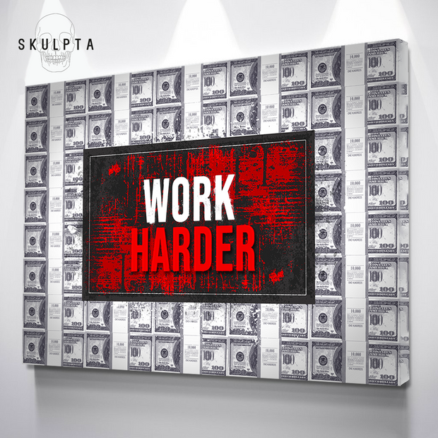 "Skulpta Canvas Print 30x45cm / 12x18"" / Rolled Canvas ・""Red Work Harder""・"