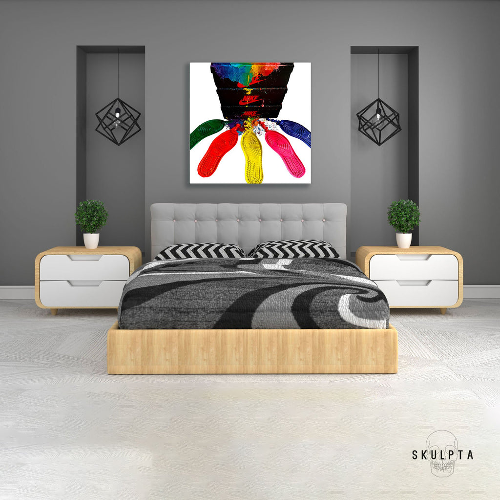 Skulpta Canvas Print jordans_colorful_white