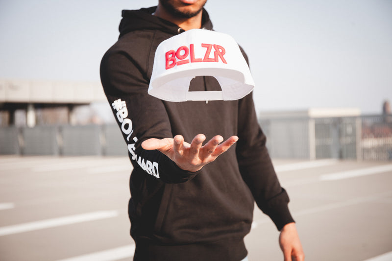 Bolzr Snapback | White & Red