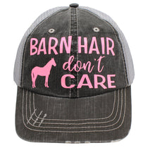"Beautiful Neon Pink Glitter Font ""Barn Hair Don't Care"" Hat"