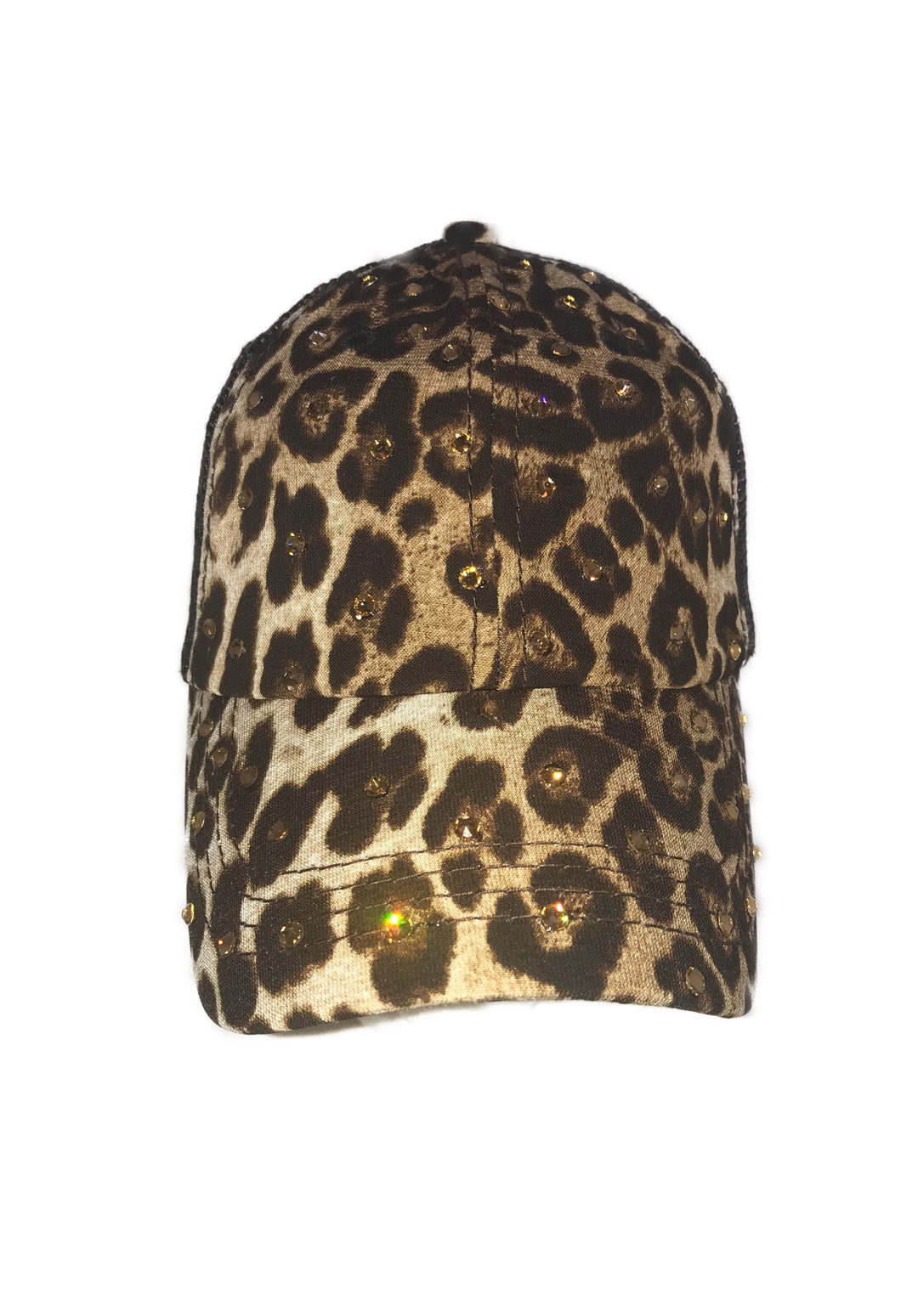 Leopard Ponytail Hat - Black Mesh Back
