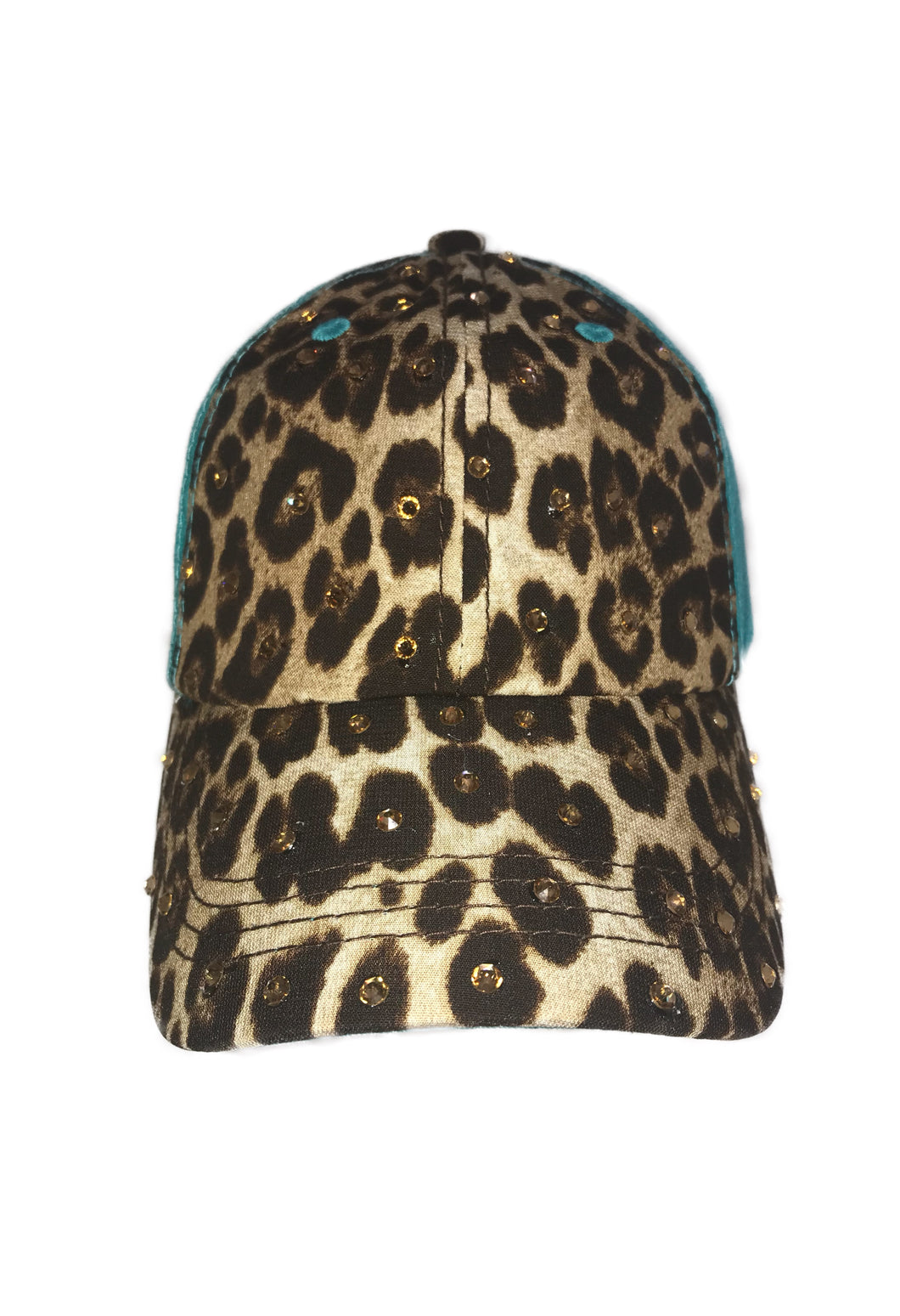 Leopard Ponytail Hat - Turquoise Back