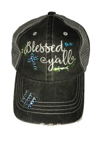 "Embroidered ""Blessed y'all"" Hat with Blue and Green Crystals"