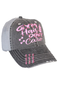 """Gym Hair Don't Care"" Distressed Hat"