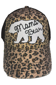 Leopard Print Tan and Brown Mama Bear Hat with Swarovski Crystals