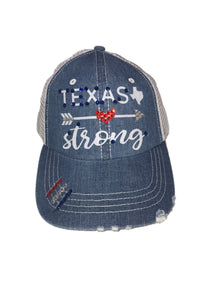 Beautiful Glitter Font Texas Strong Hat with Arrow and Swarovski Crystals