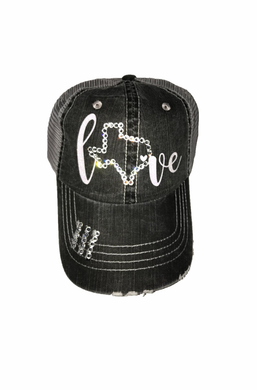 Beautiful Glitter Font Texas Love Hat with Swarovski Crystals