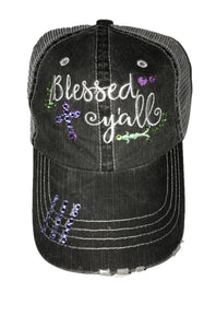 "Embroidered ""Blessed y'all"" Hat with Purple and Green Crystals"