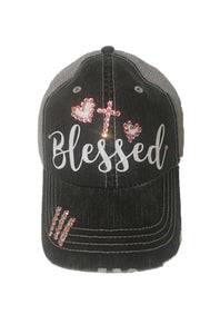 Blessed Hat with Cross and Glitter Font with Pink Swarovski Rhinestone Outline