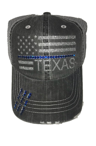Texans Back the Blue Hat with Silver Glitter Font