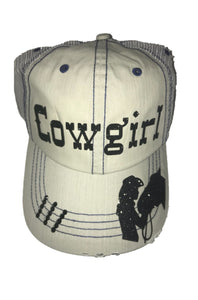 Cream Cowgirl Hat with Navy Stitching and Black Swarovski Crystals