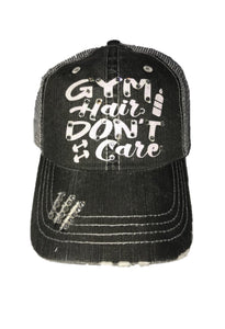 "White Glitter Font ""Gym Hair Don't Care"" Distressed Hat"