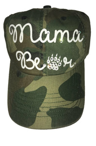 Mama Bear hat with White and Silver Glitter Font