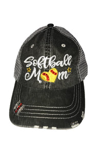 "Embroidered ""Softball Mom"" Distressed Hat"