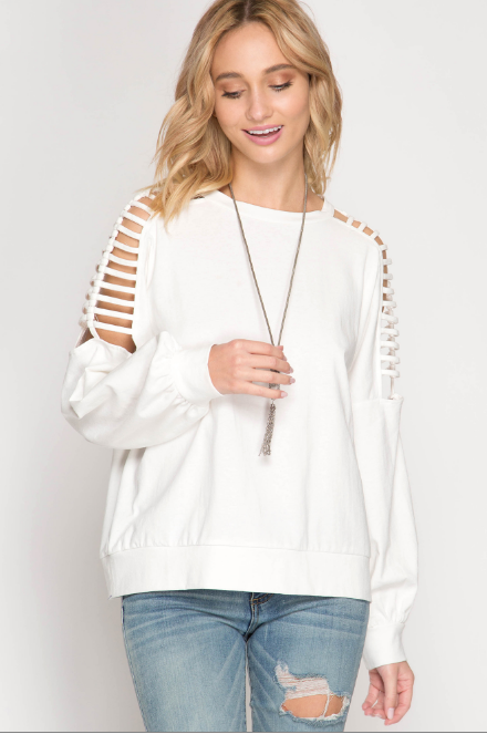 Long Sleeve with Cold Shoulder Ladder Straps