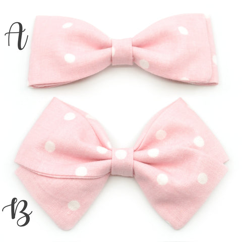 Baby Pink & White Polka Dot Bow Tie OR Anna Bow