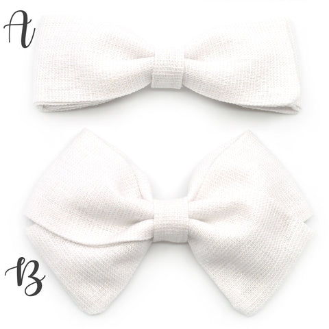 White Shimmer Linen Bow Tie OR Anna Bow