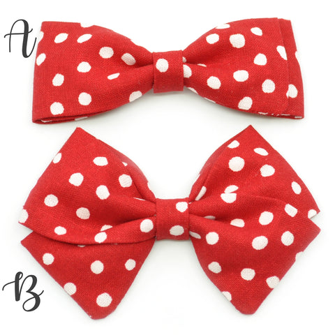Red & White Scattered Polka Dot Bow Tie OR Anna Bow