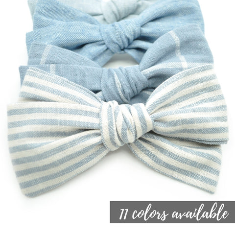 Linen Rona Bow in 11 colors, Newborn Headband or Clip