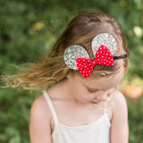 Silver Mouse Ears & Red Polka Dot Belle Bow