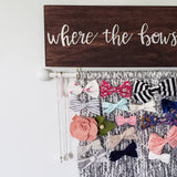 White & Cream Bow Hanger, Customizable Bow Holder