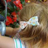 Mustard & White Leaves Evy Bow, Newborn Headband or Clip
