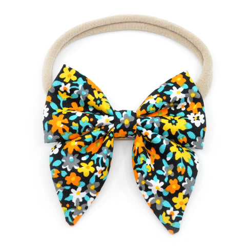 Black, Orange, Yellow, and Blue Floral Elle Bow, Toddler Hairclip