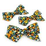 Black, Orange, Yellow, and Blue Floral Evy Bow, Infant Headband