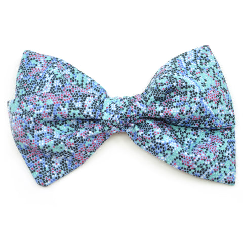 Mint & Black Pixels Rona Bow