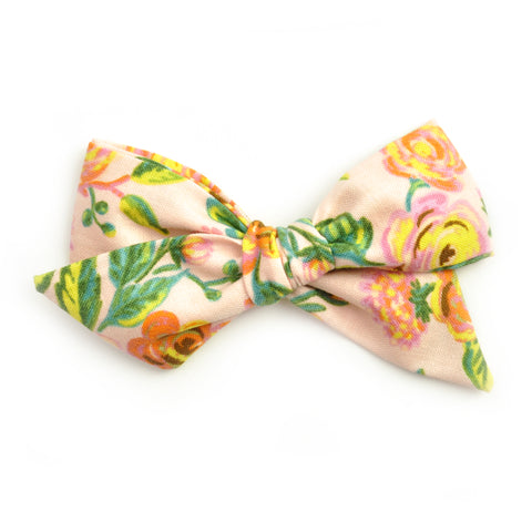 Blush Floral Rifle Paper Co Large Evy Bow