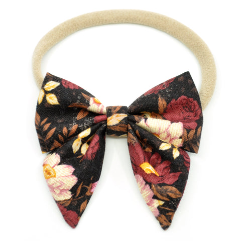 Burgundy Floral Elle Bow, Toddler Hairclip