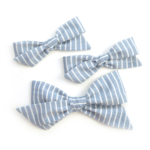 Blue Chambray & White Stripe Evy Bow, Infant Headband