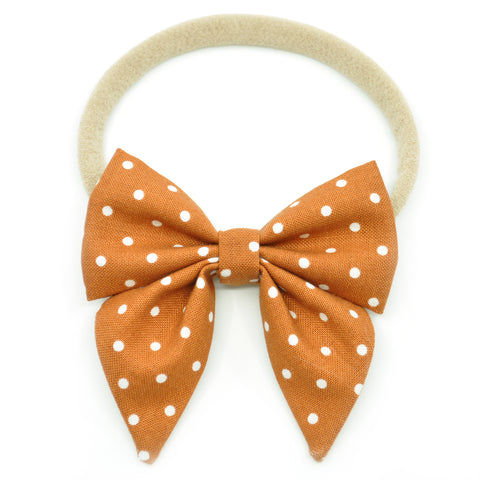 Cinnamon Polka Dot Elle Bow, Toddler Hairclip