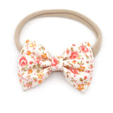 Coral and Mustard Floral Belle Bow, Tuxedo Bow