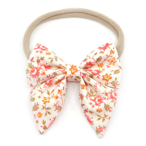 Coral and Mustard Floral Elle Bow, Toddler Hairclip