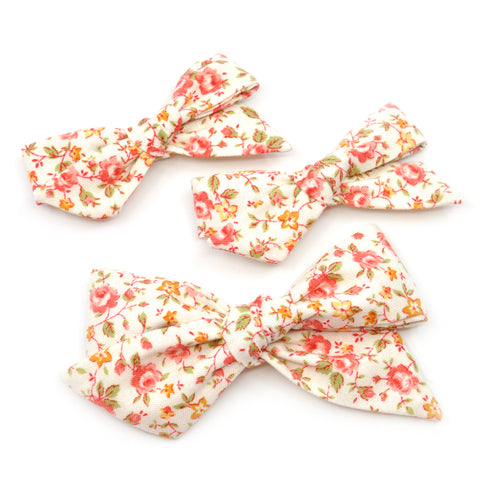 Coral and Mustard Floral Evy Bow, Infant Headband