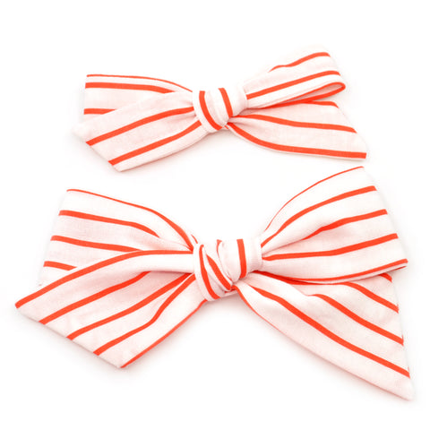 Candy Cane Stripe Evy Bow, Newborn Headband or Clip
